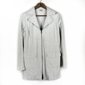 Cabi Foldover Collar Heather Gray Sweater Jacket
